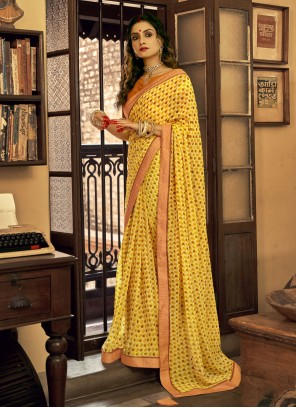Faux Georgette Abstract Print Yellow Printed Saree