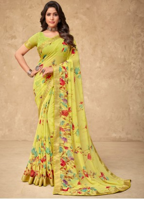Faux Georgette Yellow Abstract Print Saree