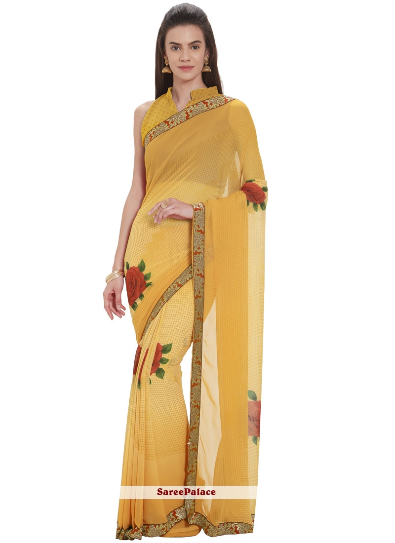 Faux Georgette Yellow Casual Saree