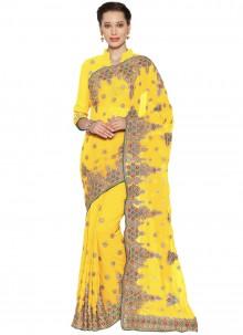 Faux Georgette Yellow Embroidered Classic Saree