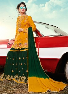 Faux Georgette Yellow Embroidered Designer Palazzo Suit