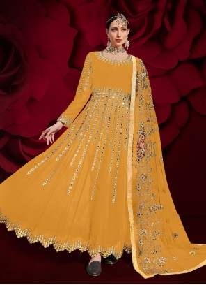 Faux Georgette Yellow Floor Length Anarkali Suit