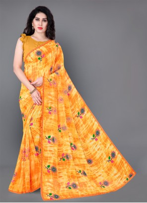 Faux Georgette Yellow Floral Print Classic Saree