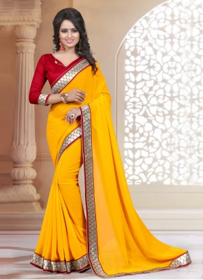Faux Georgette Yellow Lace Classic Saree