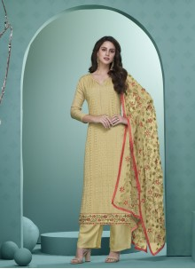 Faux Georgette Yellow Readymade Suit