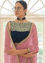 Faux Georgette Zari Classic Designer Saree in Peach