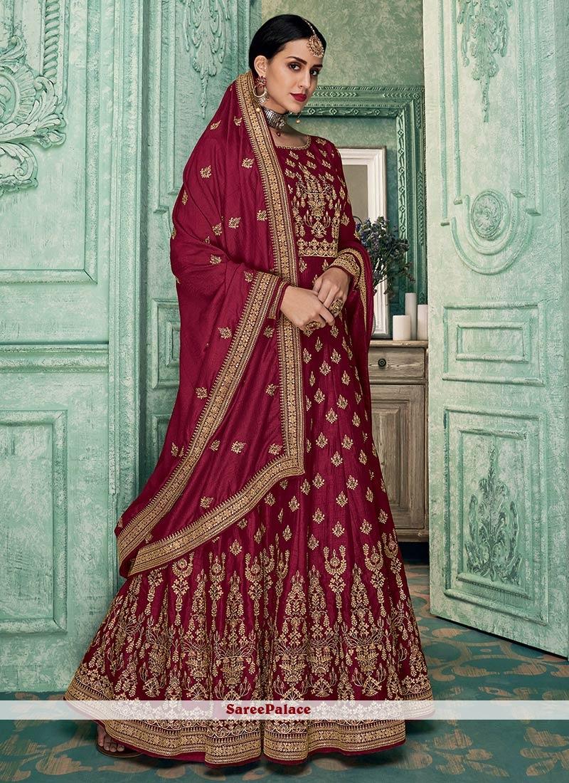 Faux Georgette Zari Maroon Trendy Anarkali Salwar Suit