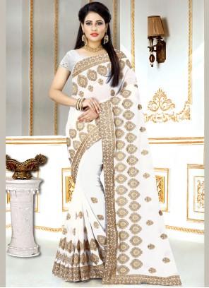 Faux Georgette Zari White Classic Designer Saree