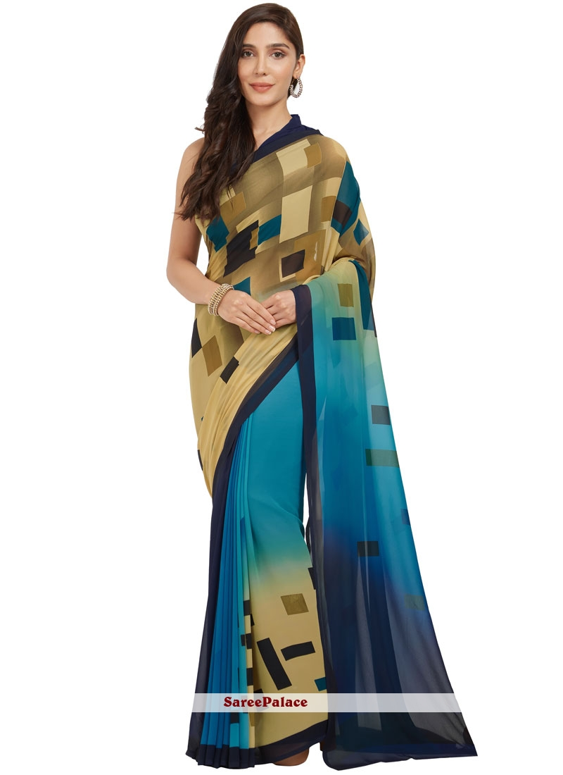 Fetching Faux Georgette Printed Work Casual Saree
