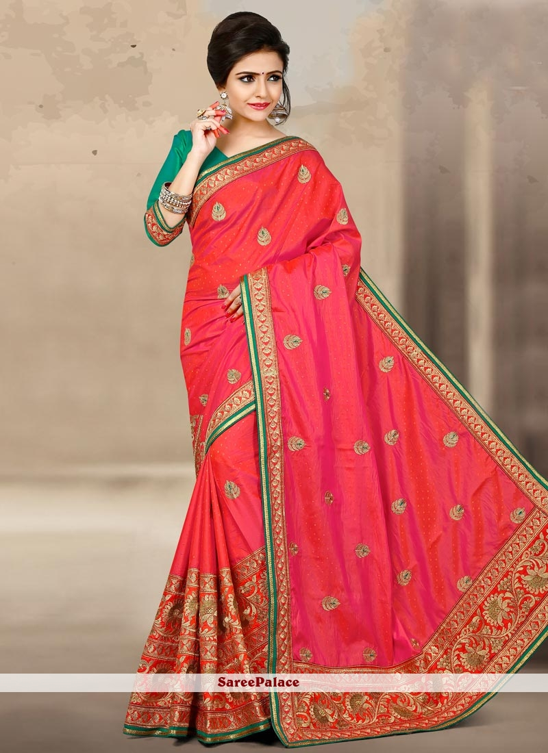 Fetching Jacquard Silk Rose Pink Designer Traditional Saree