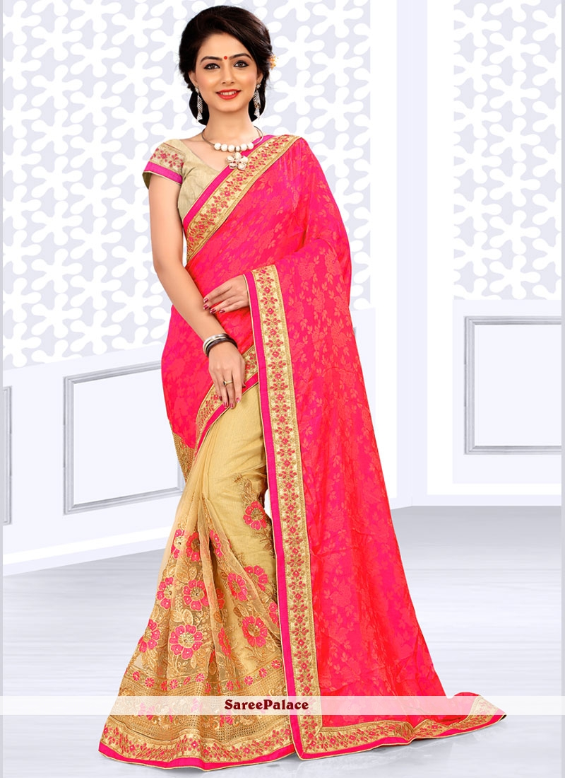 Fetching Net Beige and Rose Pink Half N Half  Saree
