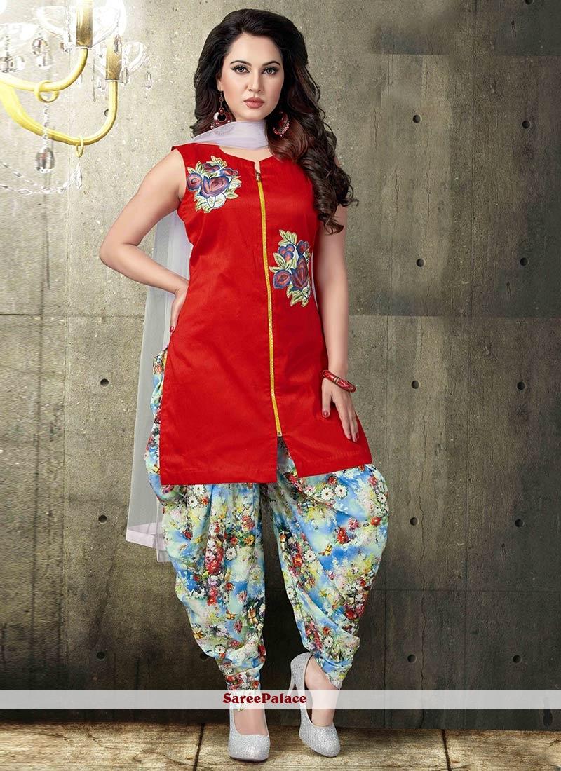 e4827d0954 Buy Fetching Red Printed Work Work Silk Patiala Salwar Suit Online