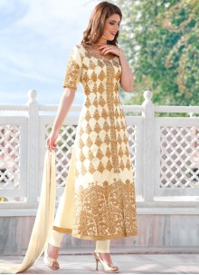 Fetching White Embroidered Work Fancy Fabric Churidar Designer Suit