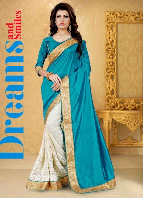 Fine Blue and Off White Patch Border Work Banglori Silk Classic Saree