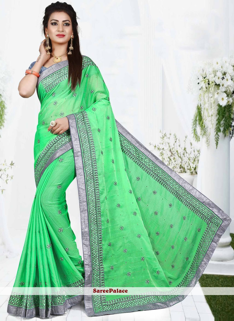 Fine Faux Chiffon Embroidered Work Traditional  Saree
