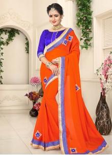 Fine Faux Georgette Orange Embroidered Work Designer Saree