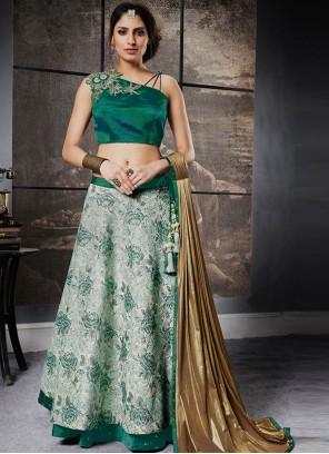 Fine Jacquard Silk Green Lehenga Choli