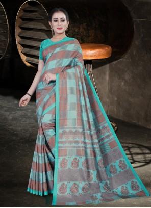 Firozi Cotton Printed Saree