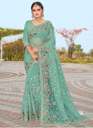 Firozi Embroidered Sangeet Designer Saree