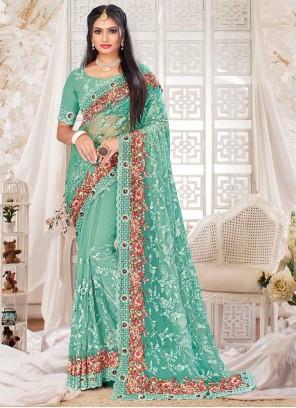 Firozi Resham Sangeet Designer Saree