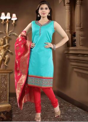 Firozi Silk Churidar Designer Suit