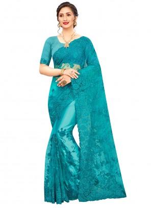 Firozi Embroidered Resham Trendy Saree