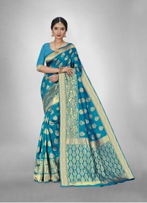 Firozi Weaving Silk Saree