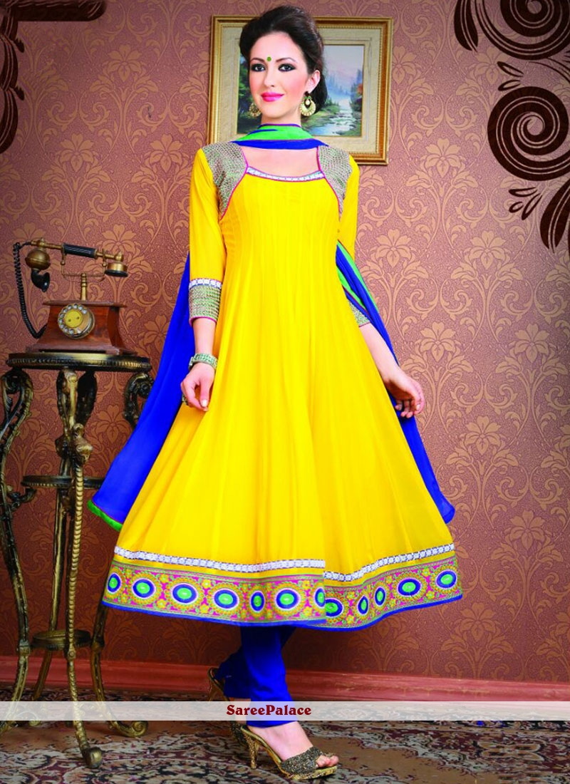 Flamboyant Yellow Patch Border Work Anarkali Suit