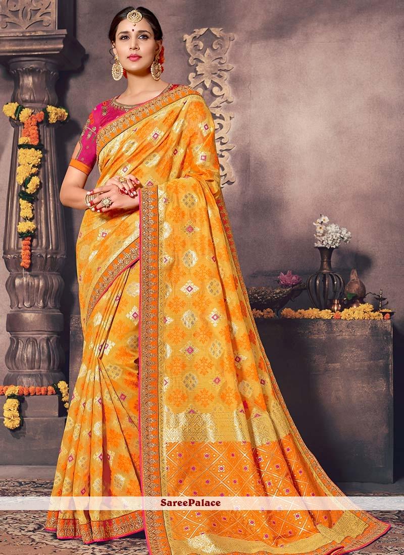 39cf1fa92f Buy Flamboyant Yellow Zari Work Art Silk Designer Traditional Saree Online