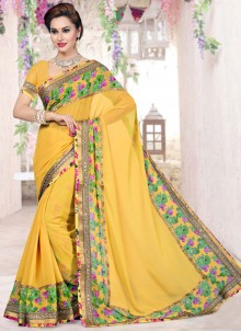 Flattering Faux Georgette Yellow Print Work Classic Saree