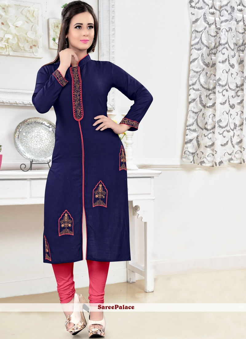 Flattering Rayon Embroidered Work Party Wear Kurti