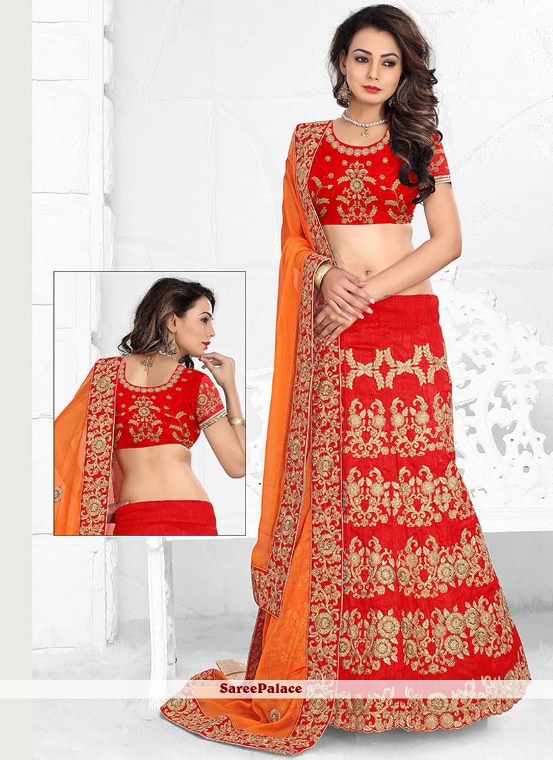 Flattering Red Patch Border Work Art Silk Lehenga Choli