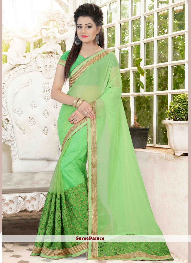 Flawless Patch Border Work Faux Georgette Classic Saree