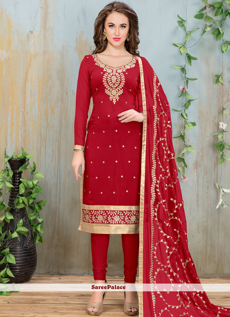 Flawless Red Churidar Suit
