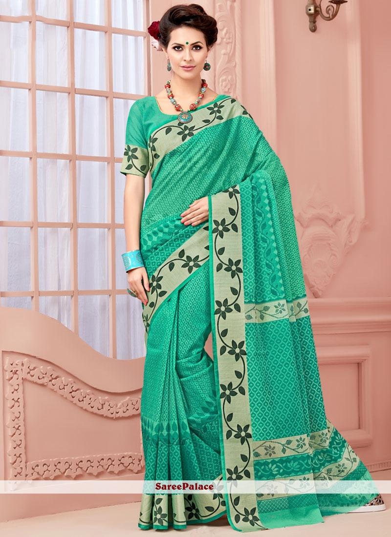 Flawless Sea Green Print Work Casual Saree