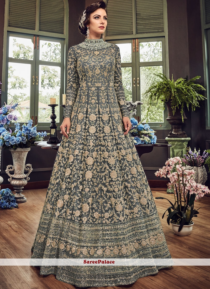 Floor Length Anarkali Suit Embroidered Fancy Fabric in Grey