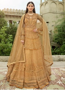 Floor Length Anarkali Suit Embroidered Net in Beige