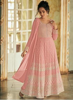 Floor Length Anarkali Suit Fancy Faux Georgette in Pink