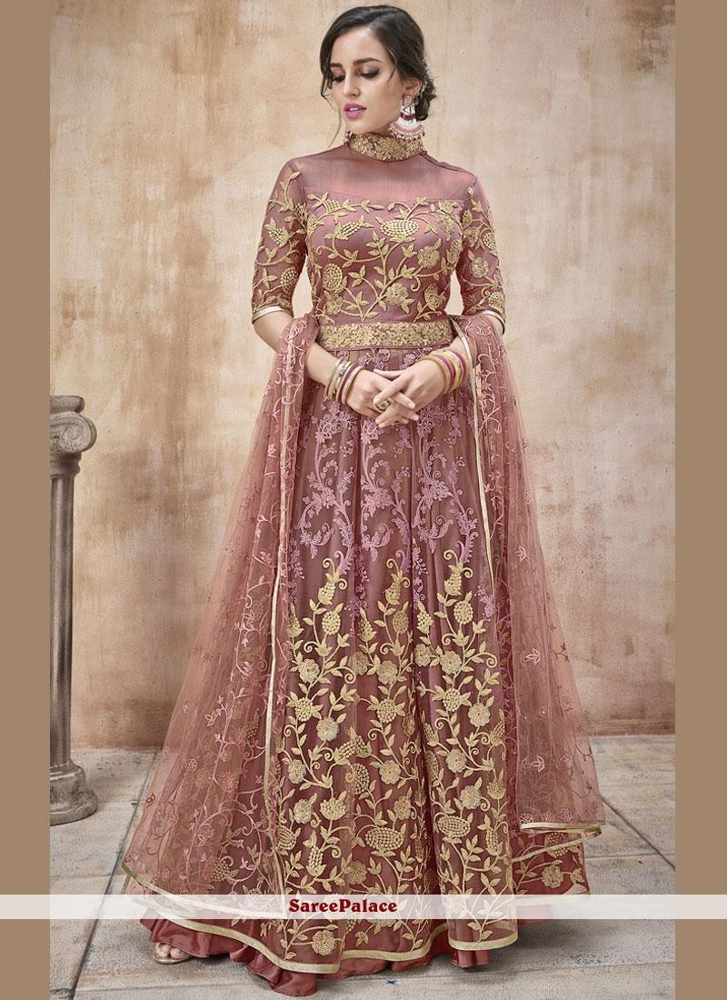 Mauve Floor Length Anarkali Suit For Bridal
