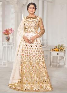 Off White Floor Length Anarkali Suit For Ceremonial