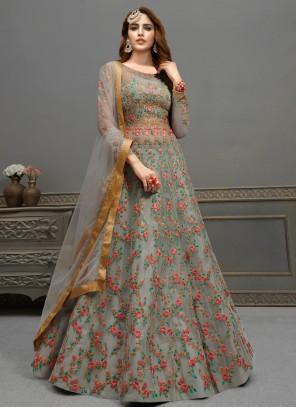 Grey Floor Length Anarkali Suit For Engagement