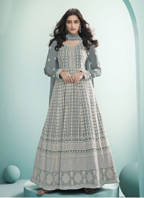 Grey Floor Length Fancy Work Anarkali Suit For Festival