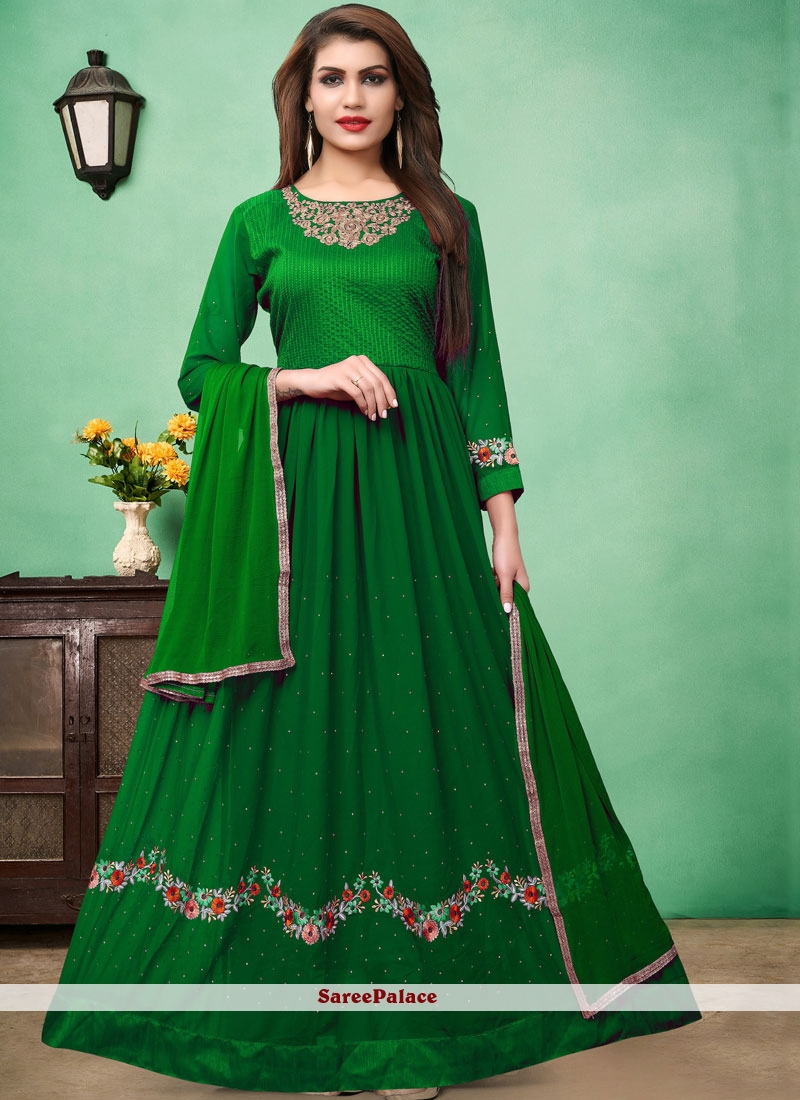 Green Floor Length Anarkali Suit For Party
