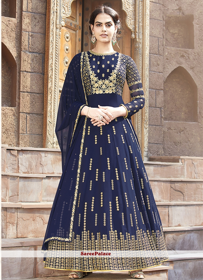 Floor Length Anarkali Suit Lace Faux Georgette in Blue