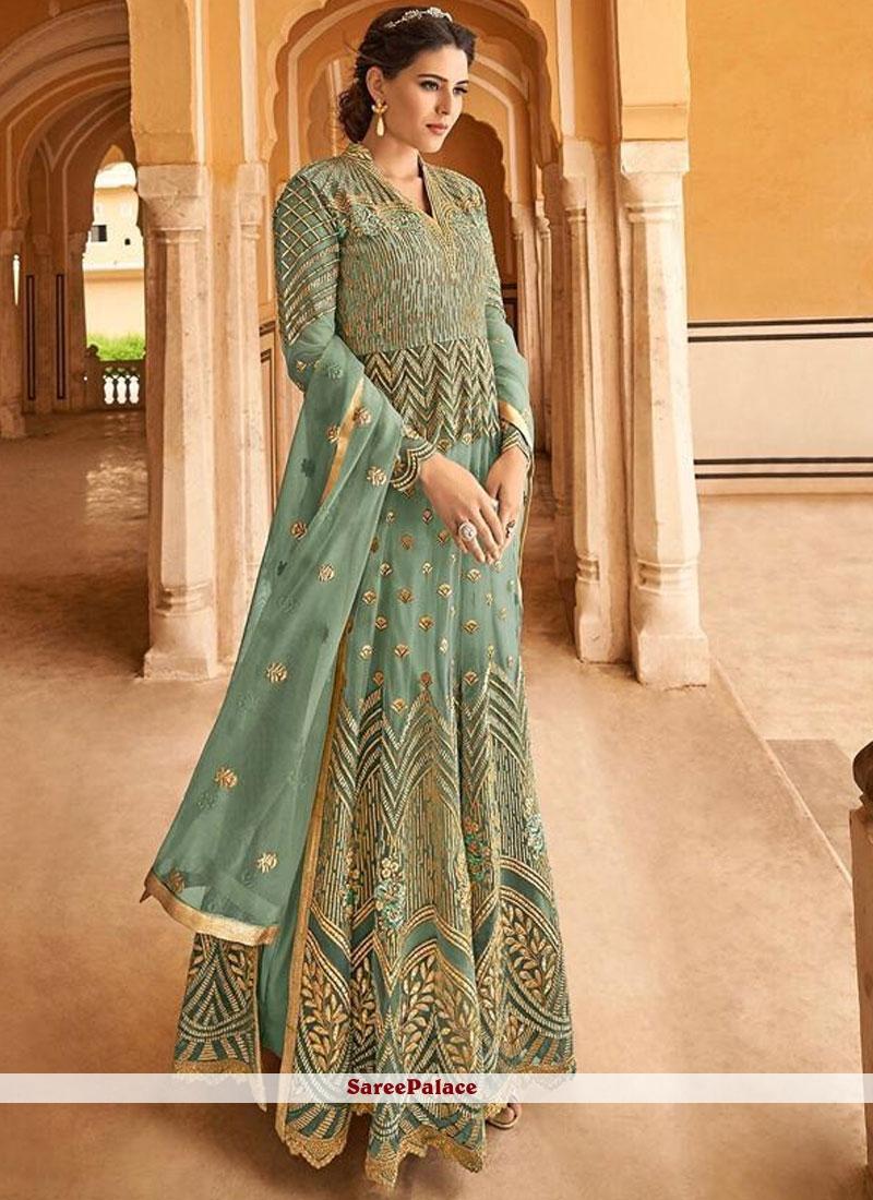 cd6a8c1669 Buy Floor Length Anarkali Suit Lace Net in Sea Green Online