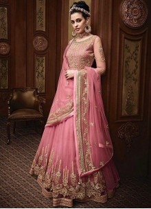 Floor Length Anarkali Suit Resham Net in Pink