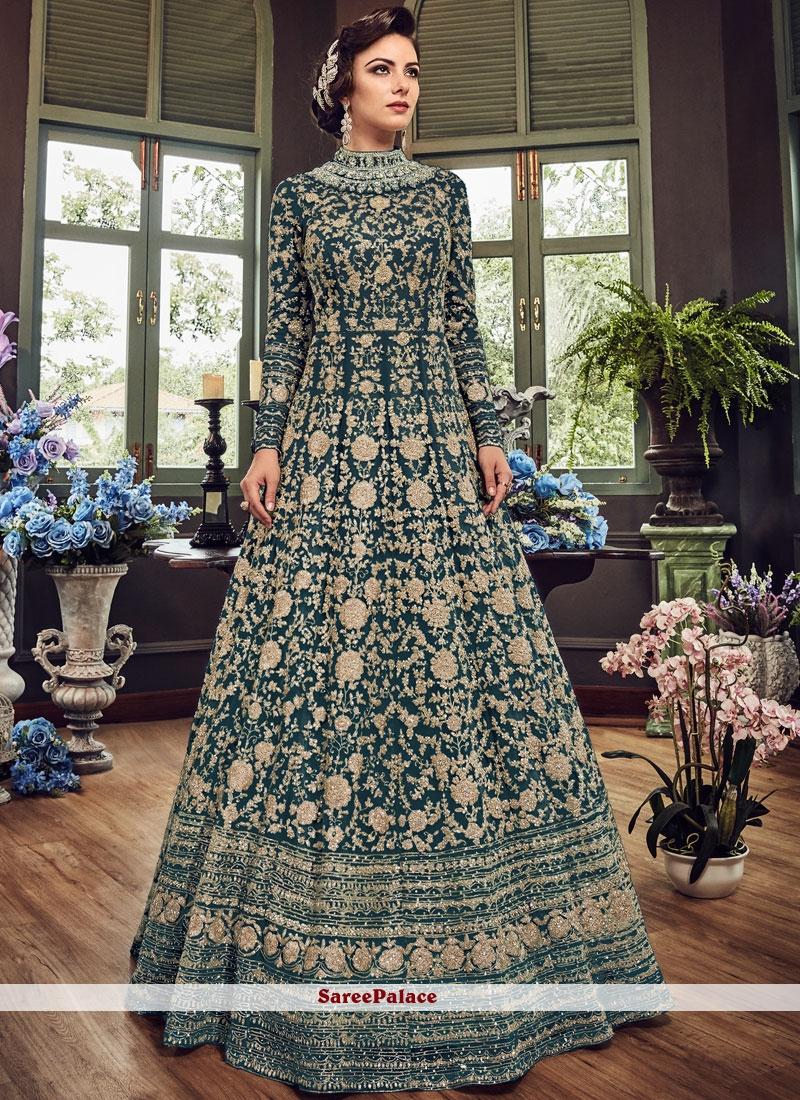 Floor Length Anarkali Suit Zari Fancy Fabric in Teal