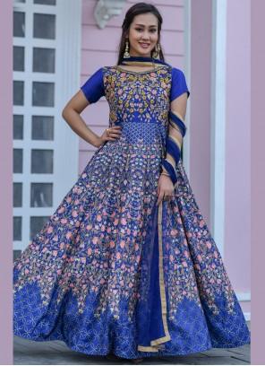 Floor Length Designer Salwar Suit Embroidered Chanderi in Blue