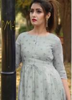 Floor Length Gown Foil Print Chanderi in Grey