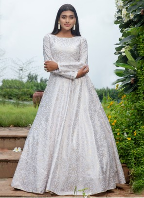 Floor Length Trendy Gown Printed Cotton in White